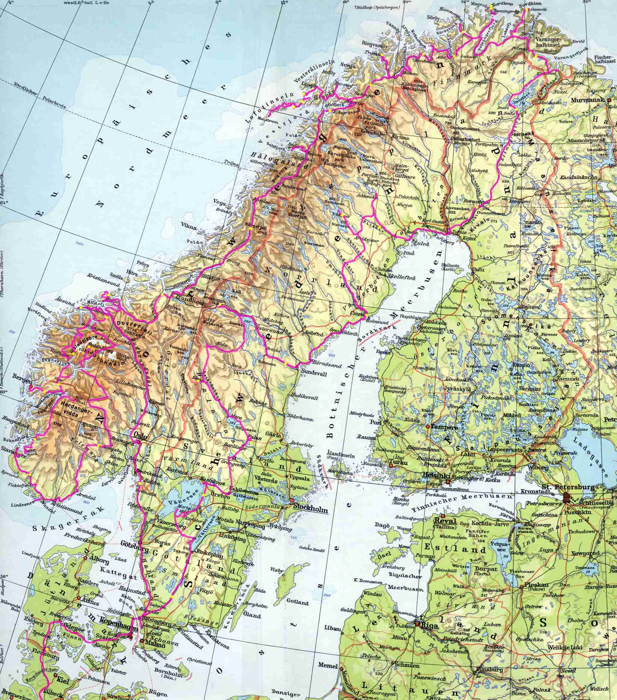 Skandinavien 1998 Landkarte Chr U M Danner